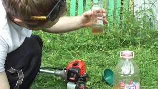 Подготовка бензиновой смеси для триммера Patriot видео