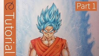 How To Draw Goku Super Saiyan Blue - PART 1