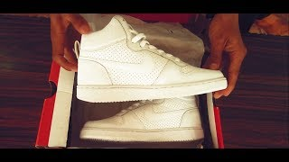 Nike Mens Court Borough Mid White Sneakers (Unboxing  & Review)
