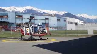 preview picture of video 'Air Glaciers Aérospatiale SA 315B Lama landing in Sion, Switzerland'