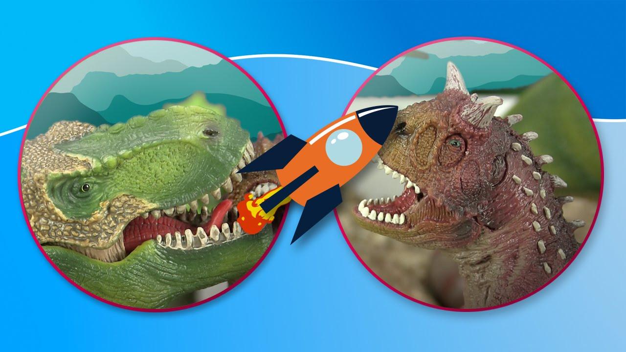 Dinosaurios. T-Rex, Carnotaurus y Braquiosaurio salen juntos a cazar