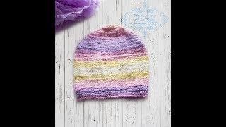 Вязание спицами детская шапочка