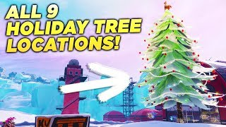 """ALL 9 HOLIDAY TREE LOCATIONS! """"Dance in front of Different Holiday Trees"""" Fortnite Challenge!"""