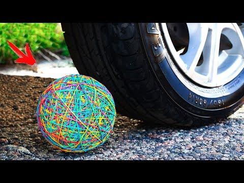 Crushing Crunchy & Soft Things by Car! - XXL Rubber Band Ball vs CAR