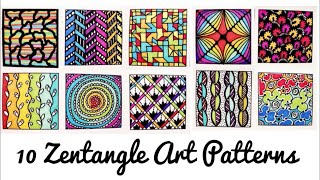 10 Easy Colourful Zentangle Art Patterns | Part -2 | Patterns for Beginners ( Time - Lapse )