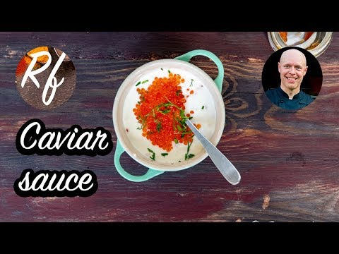 How to make a cold sauce with caviar or roe, crème fraiche, mayonnaise and lemon. >
