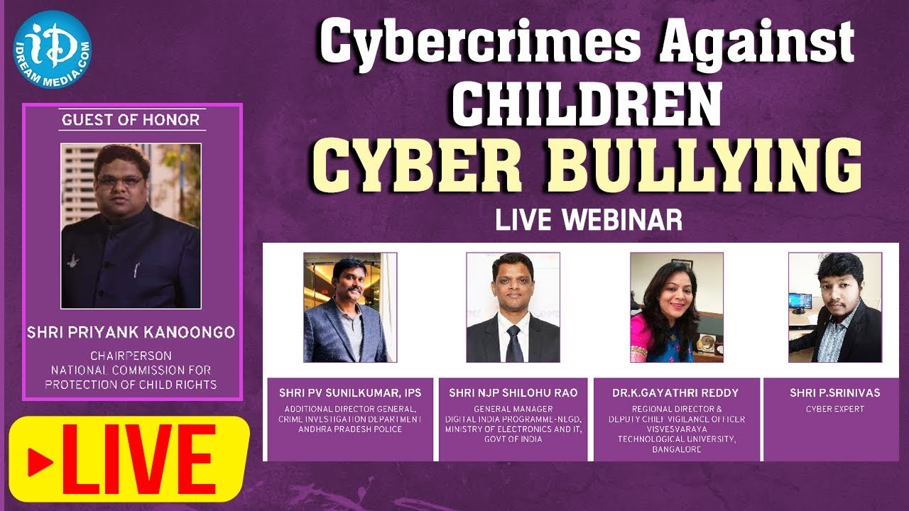 LIVE Webinar On Cybercrimes Against Children - Cyber Bullying - #e-RakshaBandhan