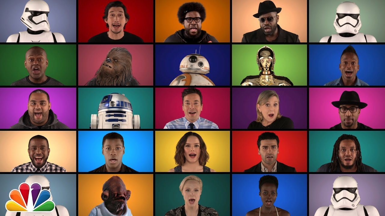 """Jimmy Fallon, The Roots & """"Star Wars: The Force Awakens"""" Cast Sing """"Star Wars"""" Medley (A Cappella) thumbnail"""