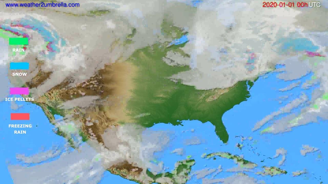 Precipitation forecast USA & Canada // modelrun: 00h UTC 2019-12-31