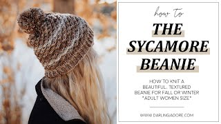 FREE KNITTING PATTERN: Easy Beanie Hat Knitting Pattern By Darling Jadore For The Sycamore Beanie