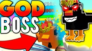 DEFEATING GODLY CHICKEN BOSS! (MYTHICAL WEAPONS) - Roblox Egg Farming Simulator
