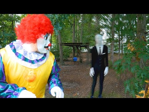 Weee Set a Slenderman Trap for the Hello Neighbor Clown in Real Life!