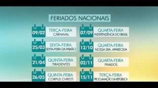 Calendário Feriados de 2016