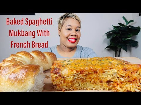 BAKED SPAGHETTI MUKBANG WITH FRENCH BREAD