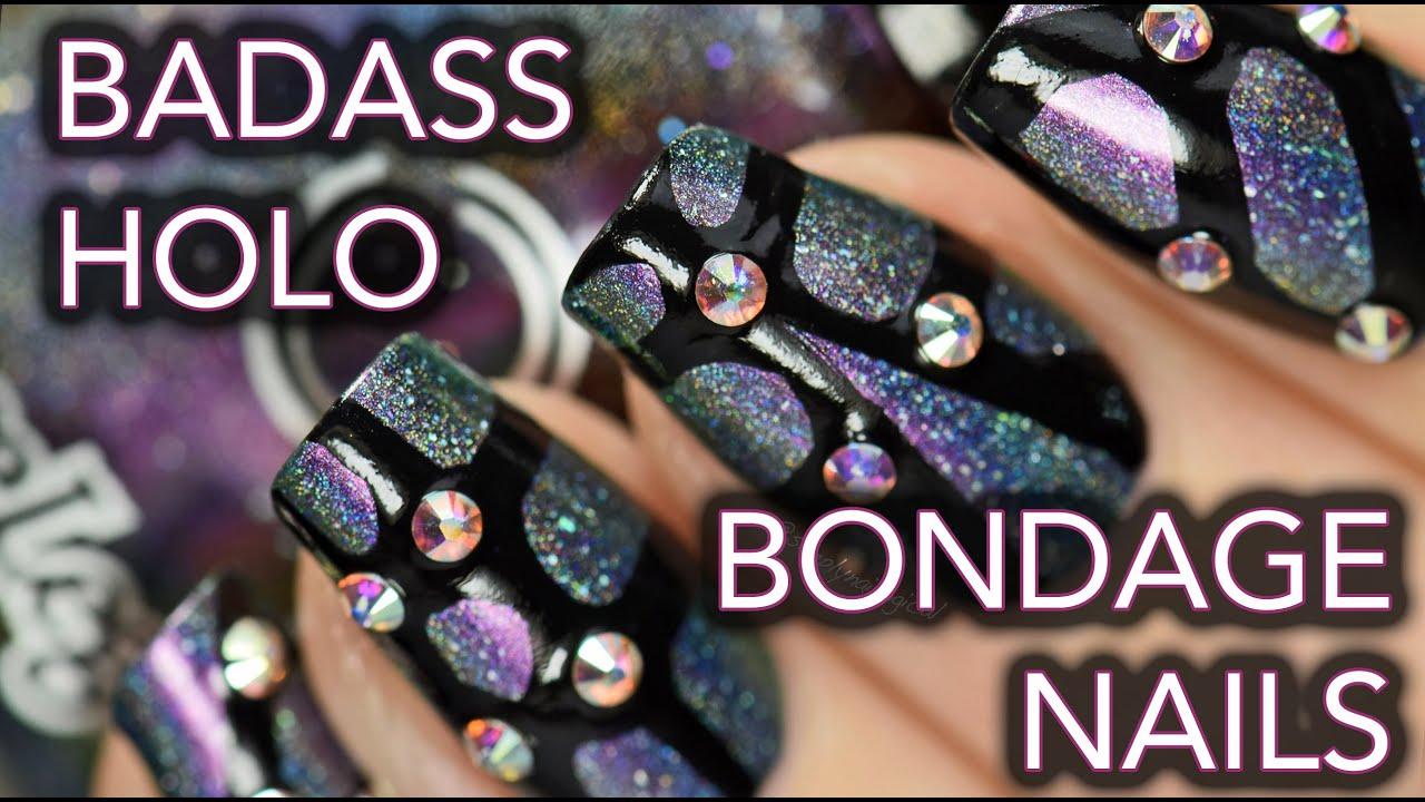Badass rhinestone holo bondage nail art thumbnail