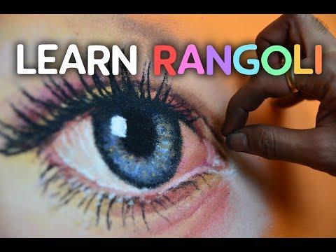rangoli design of eye video tutorial