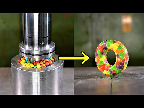 Making a Doughnut with Skittles and a Hydraulic Press