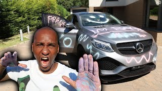 SPRAY PAINTED MY DADS CAR PRANK!! (Angry dad flips)