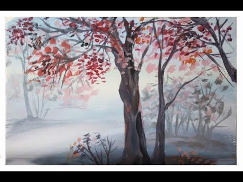 Осенний пейзаж поэтапно для детей. Деревья в тумане. Рисование осеннего пейзажа гуашью..