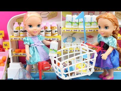Aventuras de Elsa y Anna Frozen | Vídeos de Elsa y Anna en el Supermercado, en el Médico, en el Baño