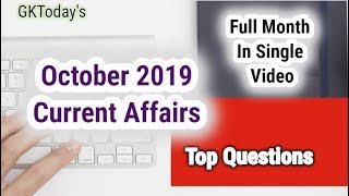 [Monthly Compilation] October 2019 Current Affairs in English