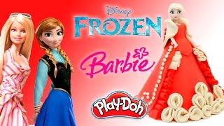 Куклы Frozen Холодное сердце и Барби Королевское платье из пластилина Плей До