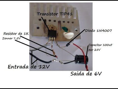 Construa um carregador de bateria e conversor de 12V para 6V e mostrado todos componentes