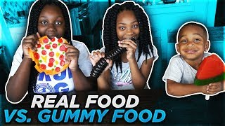 REAL FOOD VS GUMMY FOOD EXTREME | GROSS GIANT CANDY CHALLENGE | DJ'S CLUBHOUSE