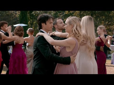 The Vampire Diaries 8x09 Elena and Damon first dance memories, Caroline helps him to fight