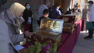 Sărbătoarea Sf. Dimitrie cel Nou/ Sfintele Moaşte, aşezate în pridvorul Catedralei Patriarhale
