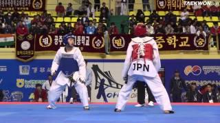 7th korea open taekwondo championships final male senior 1 58kg kang myung je vs yamada yuma