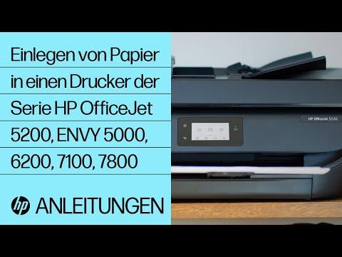 Einlegen von Papier in einen Drucker der Serie HP OfficeJet 5200 und ENVY 5000, 6200, 7100, 7800