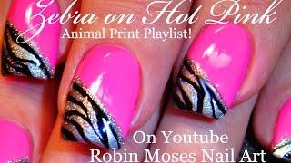 Zebra Print on HOT Pink Nails | Neon Animal Nail Art Design Tutorial
