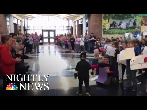 Kindergartner Battling Cancer Gets A Hero's Welcome From His Classmates | NBC Nightly News