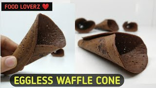 Home-made Eggless Waffle Cones On Pan   Ice Cream Cone Recipe Without Machine
