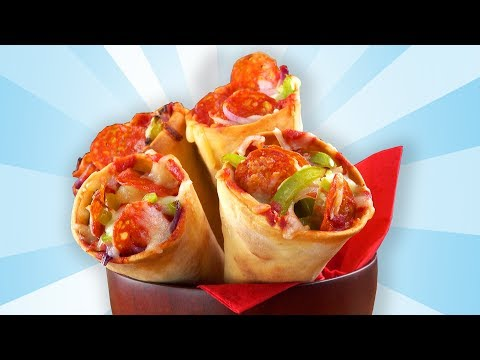 Stuffed Pizza Cones in a handy size are the perfect party snack!