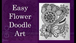 EASY FLOWER DOODLE FOR BEGINNER   HOW TO DRAW EASY FLOWER DOODLE