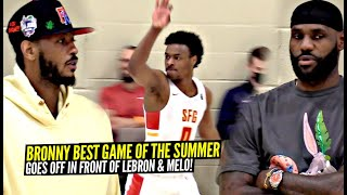 Bronny James BEST GAME OF 2021 In Front of LeBron & Carmelo Anthony!!