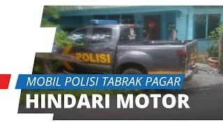 Detik-detik Mobil Patroli Polisi Tabrak Pagar Rumah Warga karena Hindari Emak-emak Naik Motor