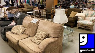 GOODWILL SHOP WITH ME FURNITURE TABLES ARMCHAIRS SOFAS CHRISTMAS DECOR SHOPPING STORE WALK THROUGH