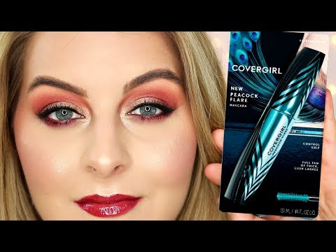 BEST NEW DRUGSTORE MASCARA?!?! COVERGIRL PEACOCK FLARE // Review & Demo