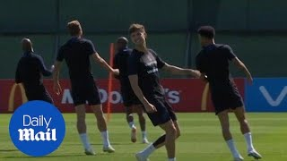 England players compete against one another in sprint training - Daily Mail