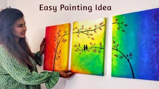 Easy Canvas Painting For Bedroom Decoration | 3 Canvas Painting Ideas DIY | Easy DIY Home Decor