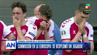 Christian Eriksen, jugador de la selección de Dinamarca, se desplomó en pleno partido