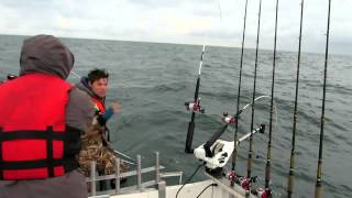Ловля лосося с берега моря возле устья