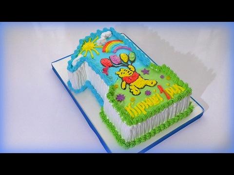 ТОРТ ЦИФРА на годик для ребенка Как сделать торт цифру Украшение тортов