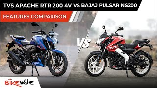 2021 TVS Apache RTR 200 4V BS6 vs Bajaj Pulsar NS200 | FEATURES COMPARISON | Buying Guide | BikeWale