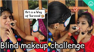 Blind makeup challenge 😂 what a makeover 🥴😆