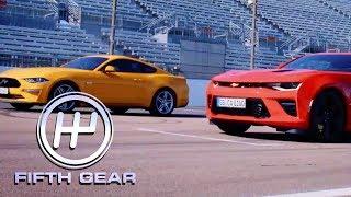 Ford Mustang V8 GT VS Chevrolet Camaro V8 - The Drag Race! | Fifth Gear