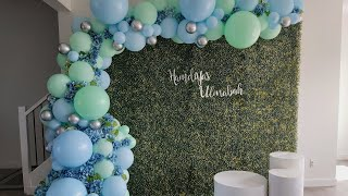 Greenery Backdrop With Balloons//  Blue And Green Pastel Balloon Garland// Baby Shower Ideas